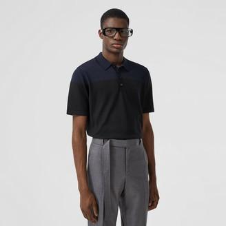 Burberry onogra otif Two-tone Silk Cashere Polo Shirt