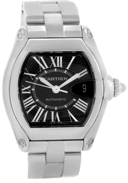 Cartier Roadster W62041V3 Stainless Steel Black Dial 38mm Mens Watch