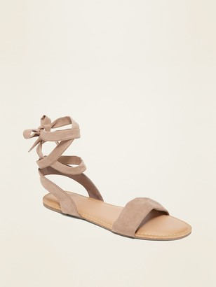 Old Navy Faux-Suede Ankle-Tie Sandals for Women