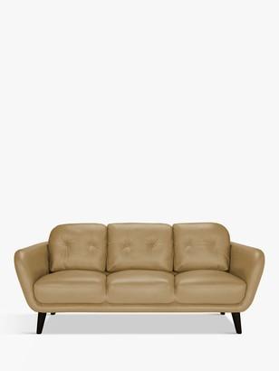 House by John Lewis Arlo Large 3 Seater Leather Sofa, Dark Leg