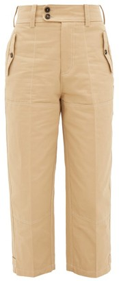 Marni High-rise Cropped Cotton-blend Trousers - Beige