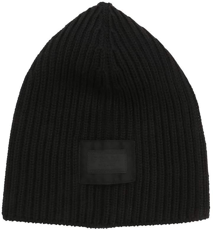 Prada Wool Rib Knit Beanie W/ Logo Patch