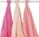 Hudson Baby 46'' x 46'' Pink Diamond Muslin Swaddle Blanket Set