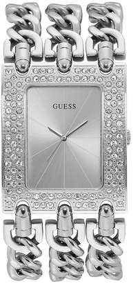 GUESS Womens Silver-Tone Stainless Steel Crystal Chain Watch, 39mm