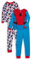 AME Sleepwear Little Boys and Boy's Four-Piece Spidey Cotton Pajama Set
