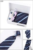 PAHALA Mens Fashion Necktie Cufflinks Tie Bar Pocket Square Set Box