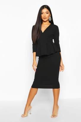 boohoo Peplum 3/4 Sleeve Midi Dress