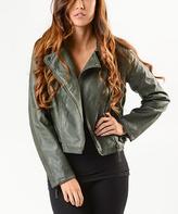 Paparazzi Olive Faux Leather Moto Jacket