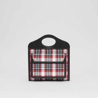 Burberry Mini Tartan Nylon and Leather Pocket Bag