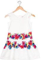 Junior Gaultier Girls' Floral Print Mesh-Trimmed Dress w/ Tags