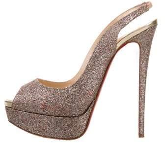 Christian Louboutin Glitter Lady Peep Pumps