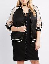 Charlotte Russe Plus Size Satin Varsity Colorblock Bomber Jacket