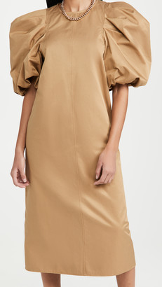 En Saison Poplin Midi Dress With Puffed Sleeves
