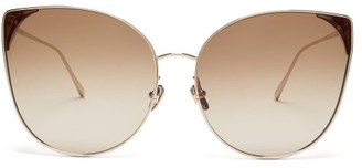 Linda Farrow Flyer Cat-eye 22kt Gold-plated Sunglasses - Brown Gold