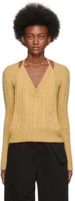 Jacquemus Yellow La Double Maille V-Neck Sweater