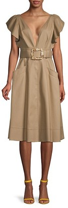 Oscar de la Renta Belted Cotton A-Line Dress