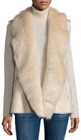 Neiman Marcus Vegan-Leather Faux-Fur Trim Vest, Beige