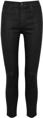 J Brand Alana black coated skinny jeans