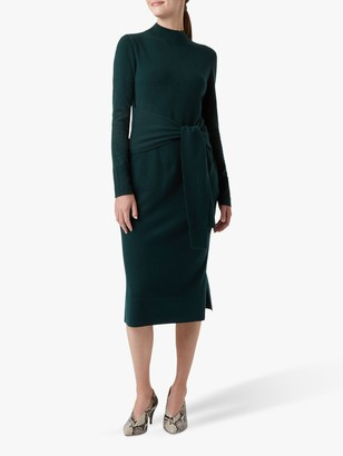 Hobbs Tilly Knitted Dress, Deep Green