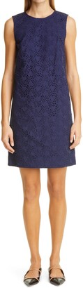 Carolina Herrera Sleeveless Eyelet Shift Dress