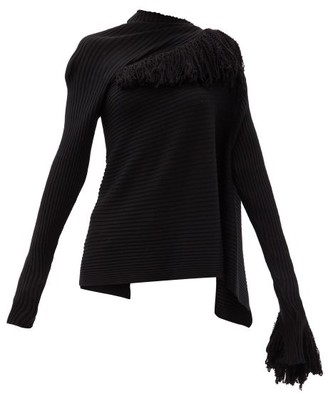 Marques Almeida Asymmetric Ribbed Merino-wool Sweater - Black