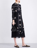 Vilshenko Sofia floral-embroidered cotton dress