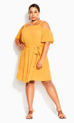 City Chic Paradise Dress - sunshine