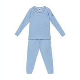 Petit Bateau Boy's Snug Fit Long Cotton Pajamas In Milleraies Stripes