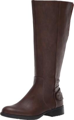 LifeStride Womens X-Amy Wc Dark Tan Wide Calf High Shaft Boots 5.5 M