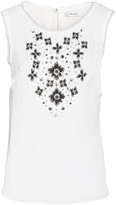Milly Embellished stretch-silk top