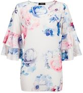 Quiz Cream And Pink Flower Print Frill Sleeve Top
