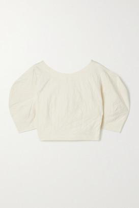 Mara Hoffman Net Sustain Peni Organic Cotton And Linen-blend Jacquard Top - Off-white