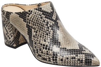 Marc Fisher Snake Embossed Leather Heeled Mule