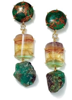Jan Leslie 18k Bespoke Tribal Luxury 3-Tier Earring with Copper Azurite, Fluorite, Raw Emerald, and Diamond