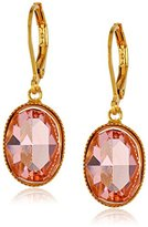 Swarovski 1928 Jewelry Gold-Tone Pink Genuine Crystal Oval Drop Earrings