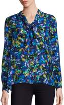 Milly Women's Silk Jewel-Print Tie-Neck Blouse