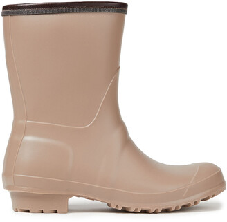 Brunello Cucinelli Leather-trimmed Bead-embellished Rubber Rain Boots