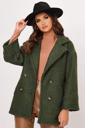 I SAW IT FIRST Khaki Boucle Double Button Coat
