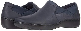 Clarks Cora Lilac (Navy Leather/Textile Combination) Women's Shoes