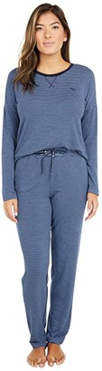 Lauren Ralph Lauren French Terry Long Sleeve Scoop Neck Joggers Pajama Set (Navy Stripe) Women's Pajama Sets