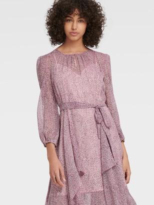 DKNY Women's Printed Handkerchief Hem Dress - Ivory/Black/Magnolia Mult - Size XS