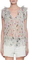 Etoile Isabel Marant Erell Sleeveless Sheer Printed Silk Blouse