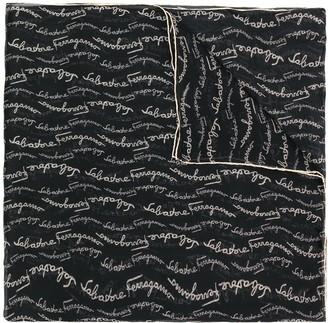 Salvatore Ferragamo Silk Lettering Logo Print Stole