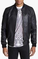 Topman Men's Leather Bomber Jacket
