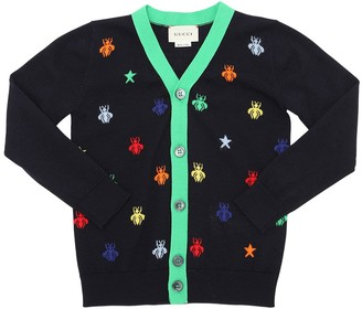Gucci Fine Wool Intarsia Knitted Cardigan