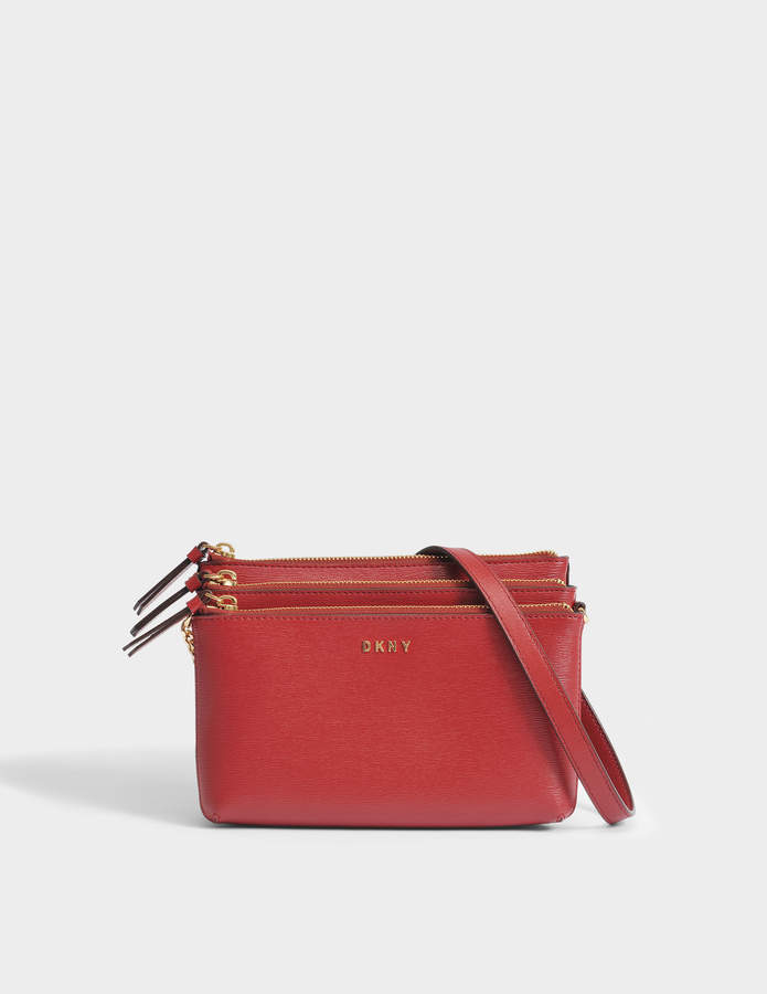 DKNY Sutton Triple Zip Crossbody Bag in Scarlet Textured Leather