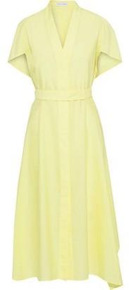Narciso Rodriguez Belted Crinkled Cotton-blend Poplin Midi Shirt Dress