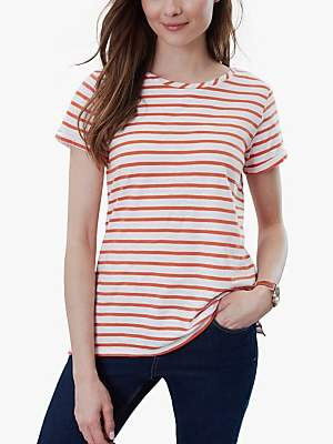 Joules Nessa Stripe Jersey T-Shirt, Orange/Cream