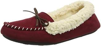 Dearfoams Women's Microsuede Moc with Quilted Tab and Memory Foam Low-Top Slippers, Red (Cabernet 10604), 9-10 Uk (42-43 EU)