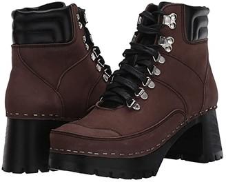 Swedish Hasbeens Trail Boot Clog (Black/Chocolate Nubuck Combo) Women's Boots